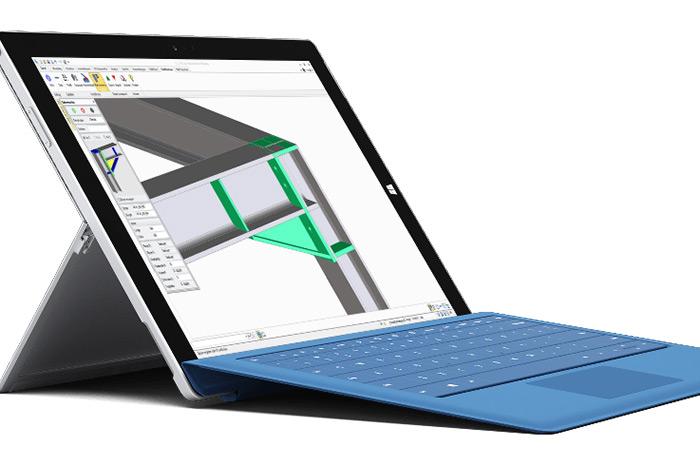 Stahlbau mit SolidSteel parametric Software auf Laptop
