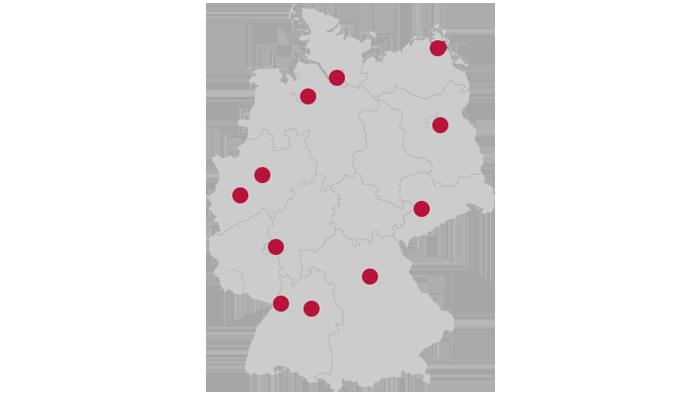 SolidLine AG Standorte Deutschlandkarte